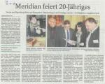 12.11.2018 Pressebericht über die Festveranstaltung 20 Jahre meridian e.V.